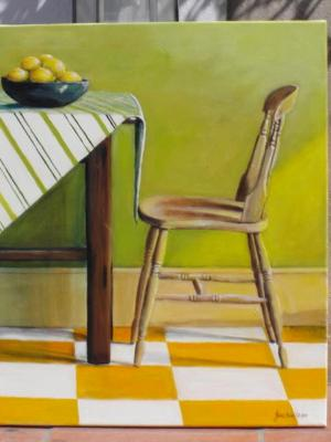 Table & Chair with bowl of lemons