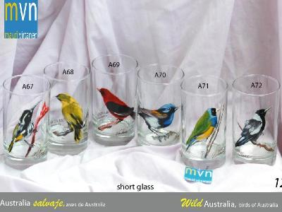 Set of handpainted glasses: BIRDS OF AUSTRALIA