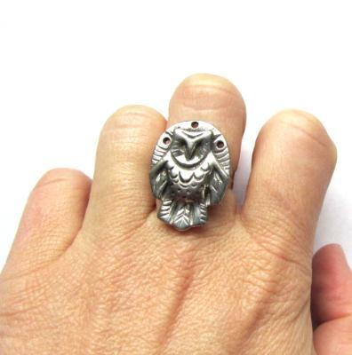 Owl Ring barn owl totem jewelry original artisan owl ring