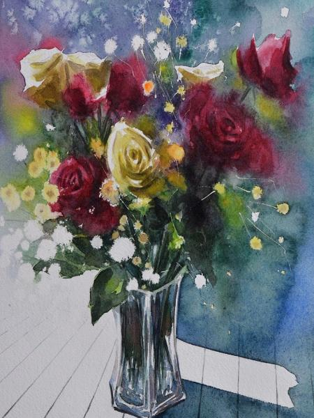 Bouquet of roses, 38cm x 28cm, 2020