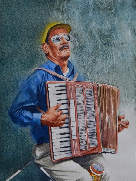 Portrait of a street accordionist, 38cm x 56cm, 2019