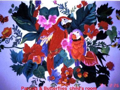 Parrots & butterfly mural