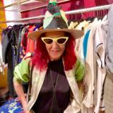 Pat Field in poodle hat at Pink Gun Gallery