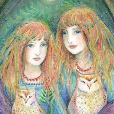 The Owlings Limited Edition art print owls and sisters