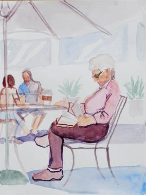 Elderly Woman Reading Outdoors