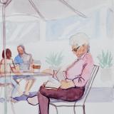 Elderly Woman Reading Outdoors