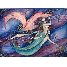 Mermaids original watercolour painting