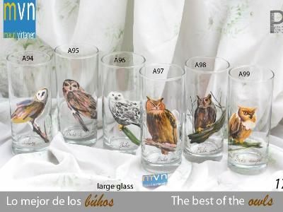 Set of handpainted glasses: THE BEST OF THE OWLS