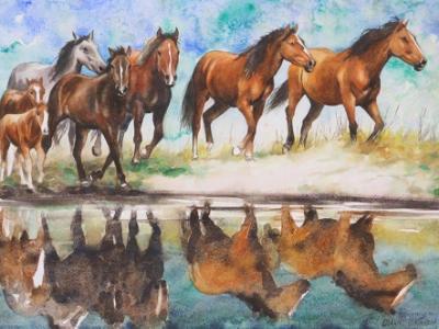 Horses of the Danube river, 35cm x 50cm, 2014