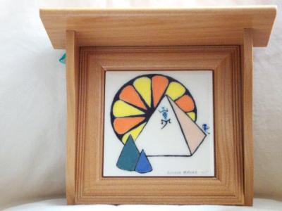 4in. tile in wood shelf