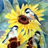 Sunflowers and Chickadees