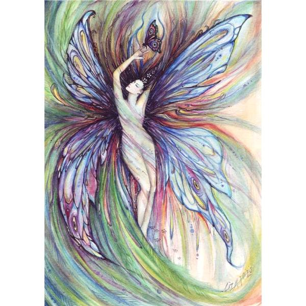 Butterfly Fairy original watercolor painting by Liza Paizis