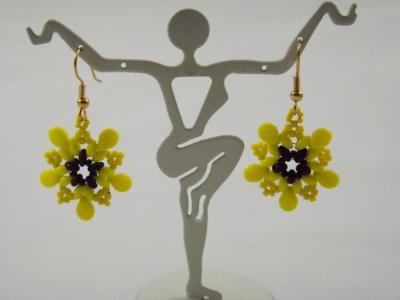 E-120 Yellow & Black Flower Earrings