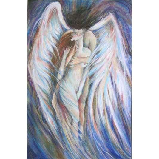 Angel's Kiss romantic original painting of two embracing lovers