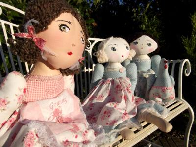 Custom made dolls by Colette Lynch from the 'SewPretty' collection.