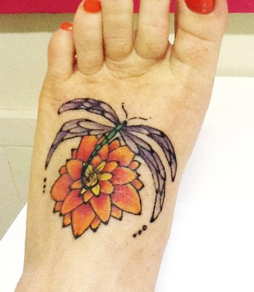 Dragonfly lotus tattoo design Liza Paizis