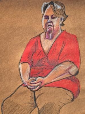 Patti, Seated (Red Shirt)