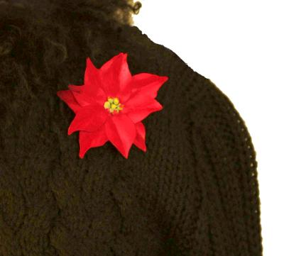 Poinsettia Pin on Black Sweater